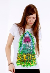 top,suicide silence,metalcore,music,band t-shirt,shark,art,emo,scene,metalhead
