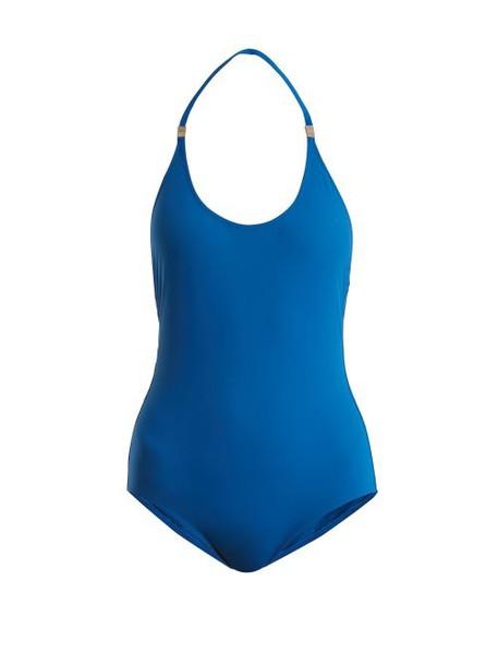 On The Island - Ammos Halterneck Swimsuit - Womens - Blue