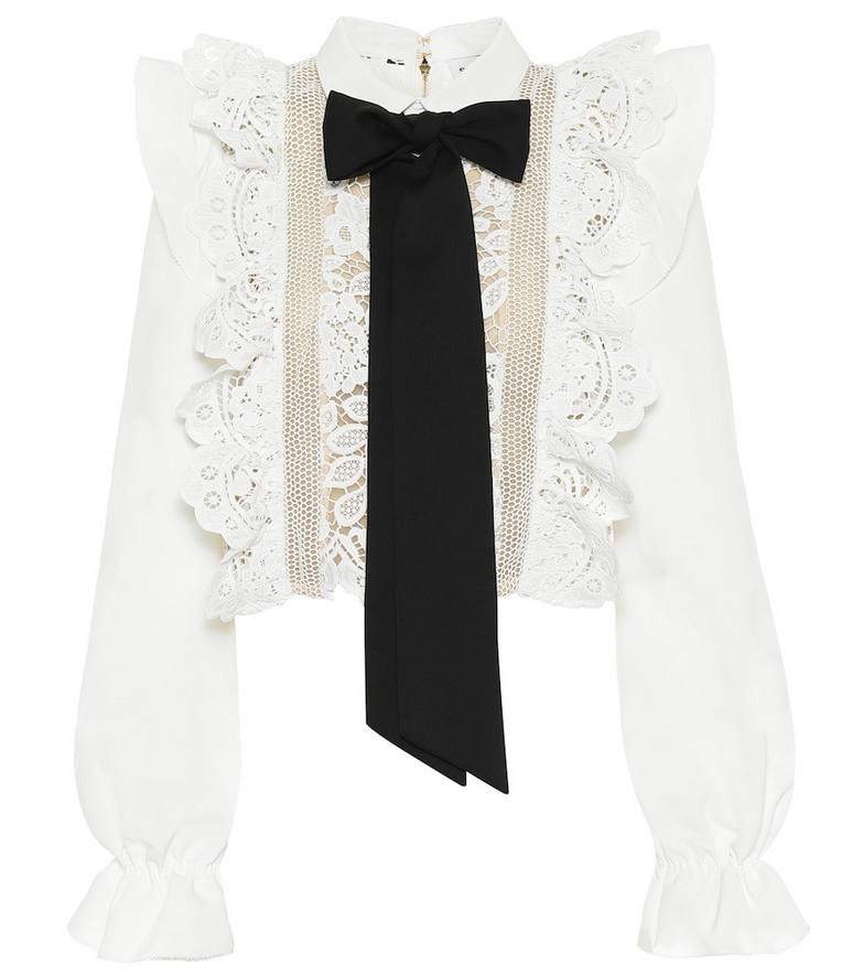 Self-Portrait Lace-trimmed blouse in white
