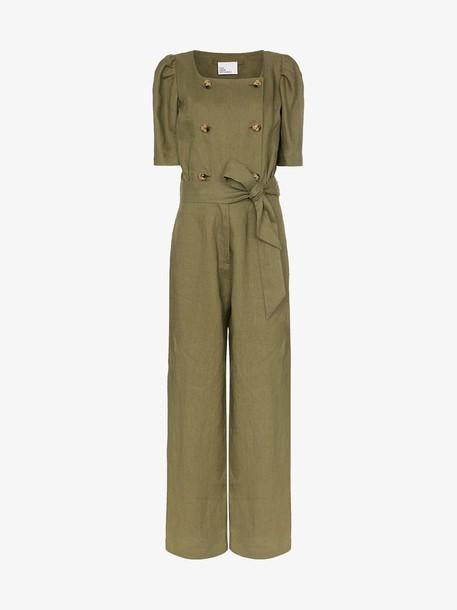 Lisa Marie Fernandez Diana linen wide leg jumpsuit in green