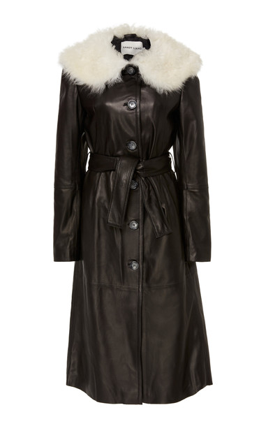 Sandy Liang Boose Belted Shearling-Trimmed Leather Coat Size: XS in black