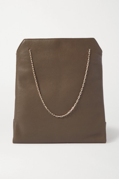 The Row - Lunch Bag Small Leather Tote - Army green