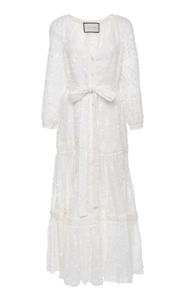 Alexis Joyce Tie-Front Fil Coupé Linen Maxi Dress Size: S in white