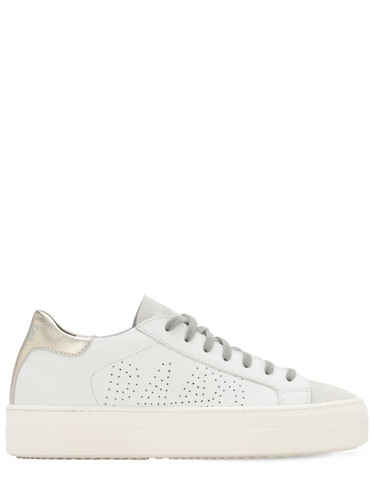 P448 30mm Thea Leather & Suede Sneakers in gold / white
