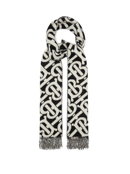 Burberry - Tb-jacquard Cashmere-twill Scarf - Womens - Black And White