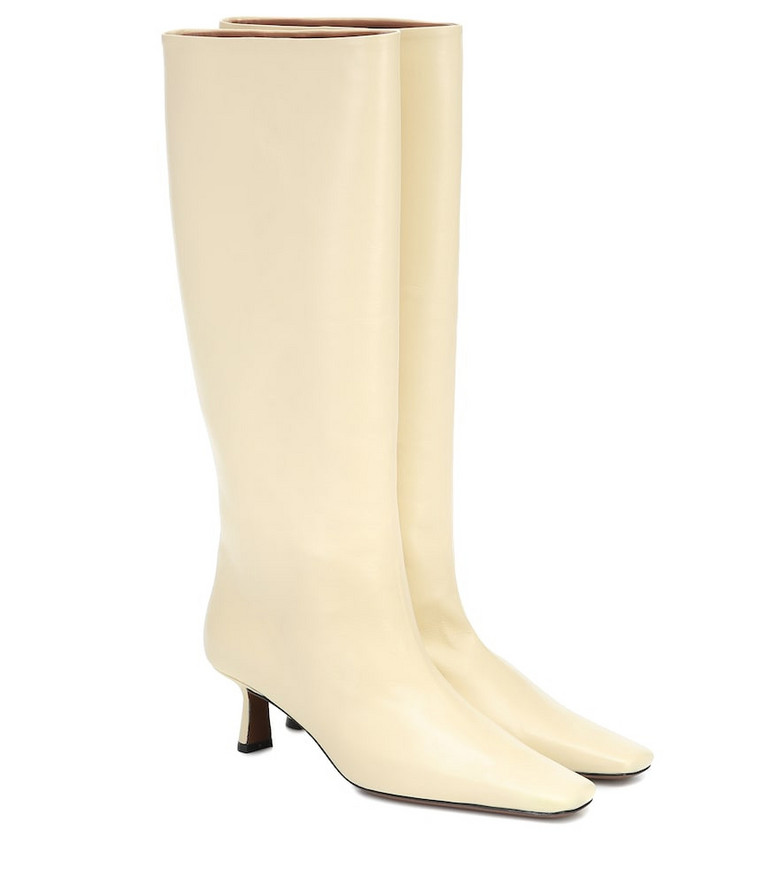 Neous Slouchy knee-high leather boots in yellow