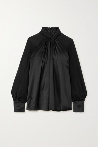 Max Mara - Enna Knotted Silk-satin And Chiffon Blouse - Black