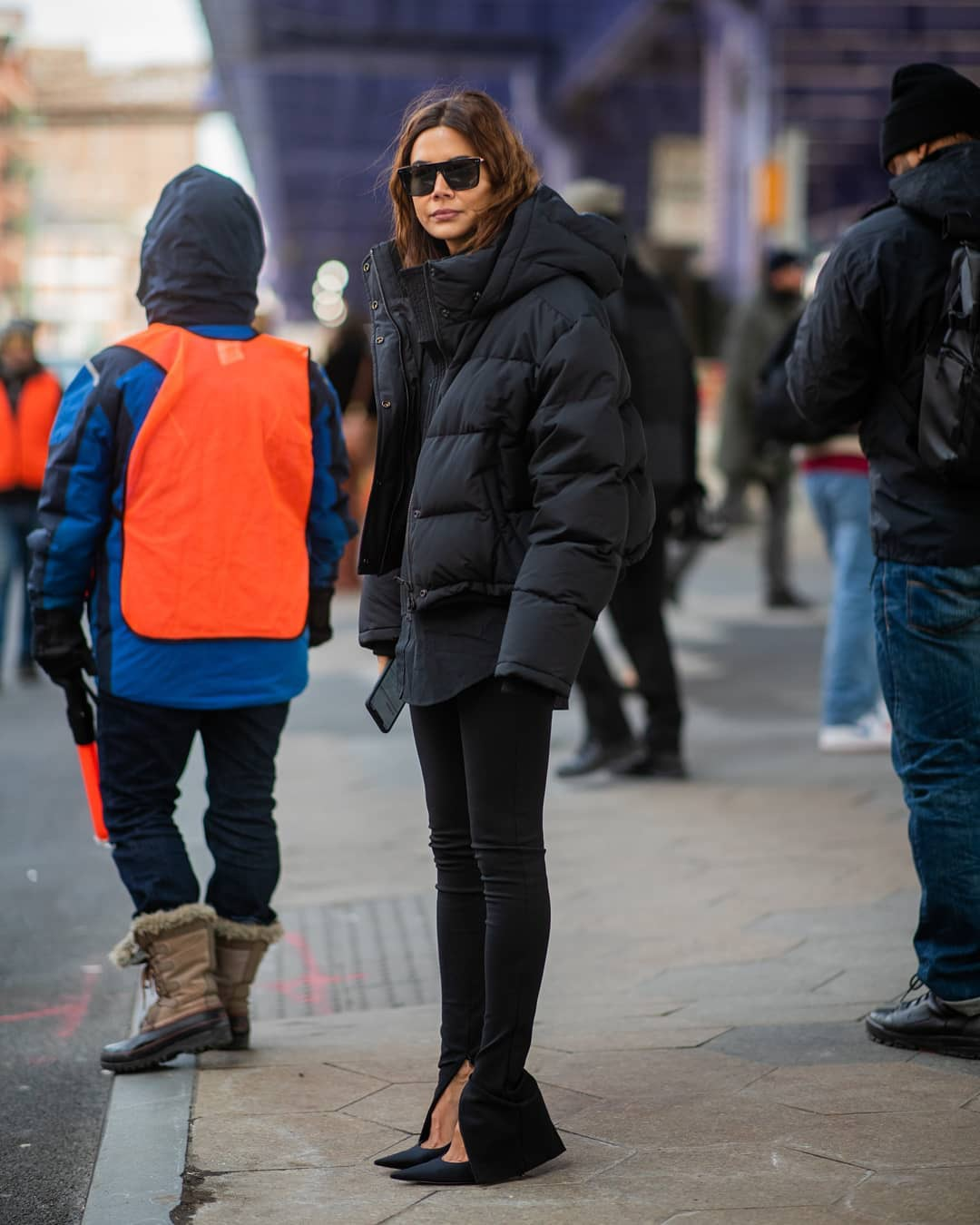 jacket puffer jacket black jacket black leggings pumps black shirt black sunglasses