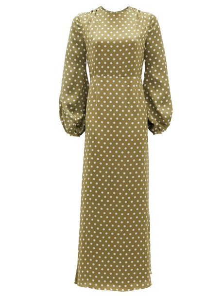 Racil - Fez Polka-dot Open-back Satin Dress - Womens - Green