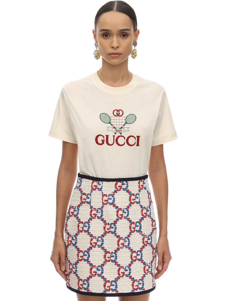 GUCCI Racket Logo Cotton Jersey T-shirt in ivory
