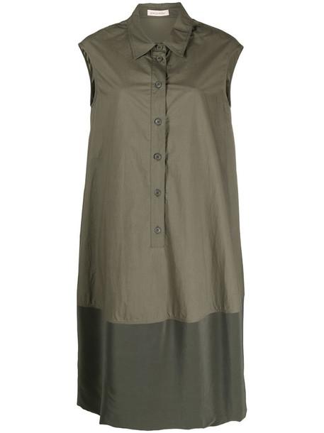 Gentry Portofino sleeveless panelled shirt dress in green