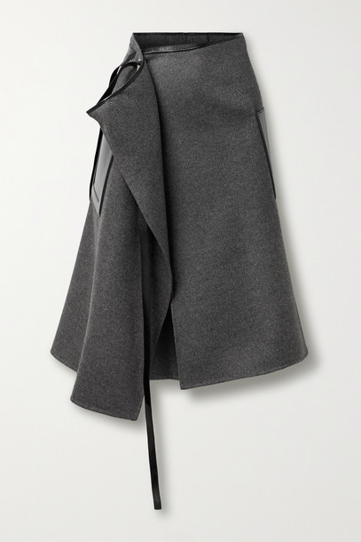 PETER DO - Leather-trimmed Wool And Cashmere-blend Wrap Skirt - Gray
