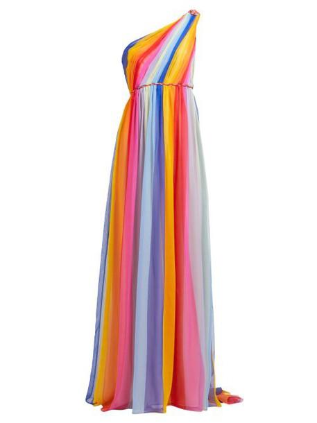 Carolina Herrera - Asymmetric Striped Silk Chiffon Gown - Womens - Multi