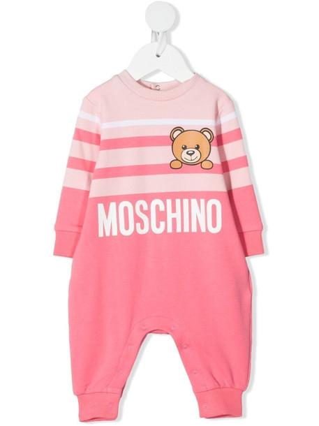 Moschino Kids teddy bear striped romper - Pink