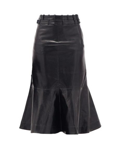 Palmer/harding Palmer//harding - Leuca Fluted-hem Python-effect Faux-leather Skirt - Womens - Black