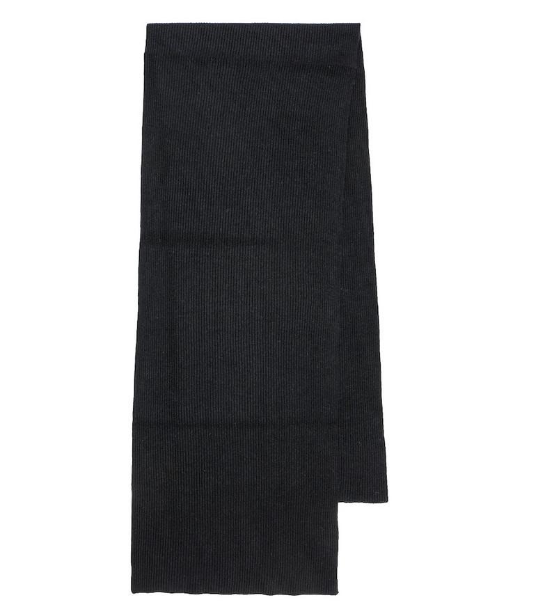 Ganni Rib-knit wool-blend scarf in black