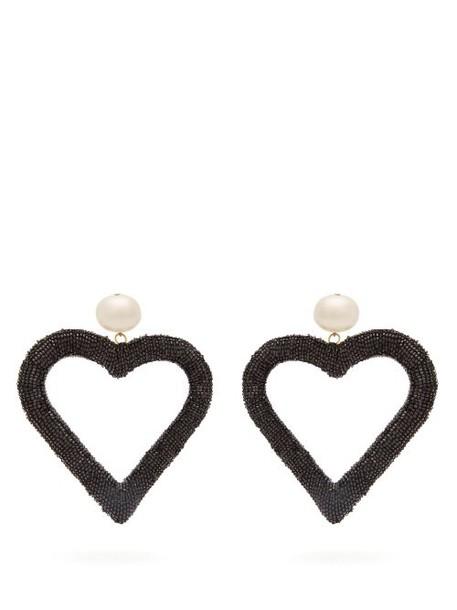Carolina Herrera - Beaded Heart Drop Earrings - Womens - Black