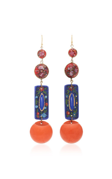 Lulu Frost Gold-Plated Glass and Bakelite Earrings