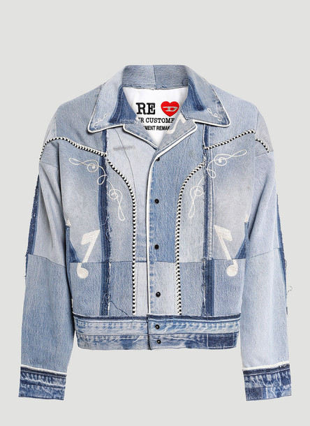 Diesel Red Tag x Readymade Contrast-Panel Denim Jacket in Blue size L