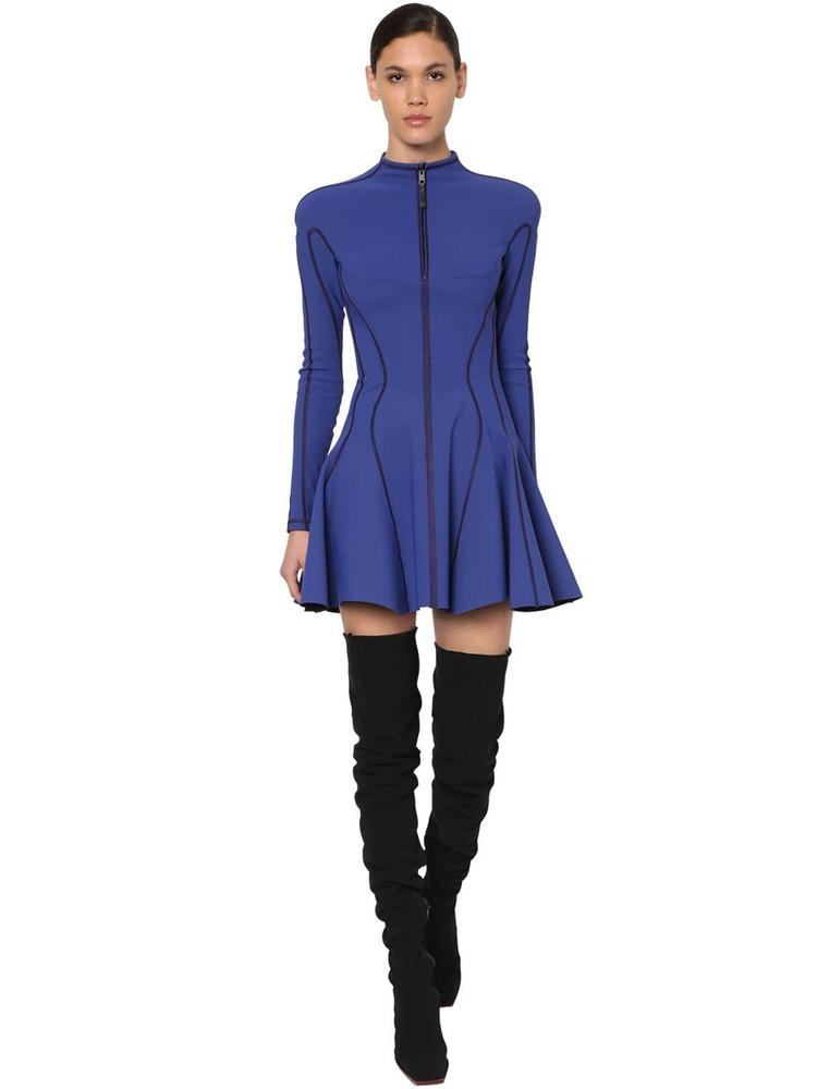 MUGLER Flared Jersey Bonded Mini Dress in blue