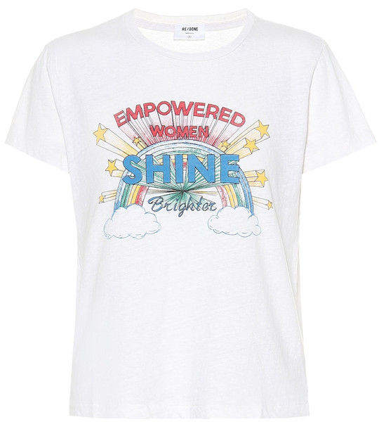 Re/Done Printed cotton T-shirt in white