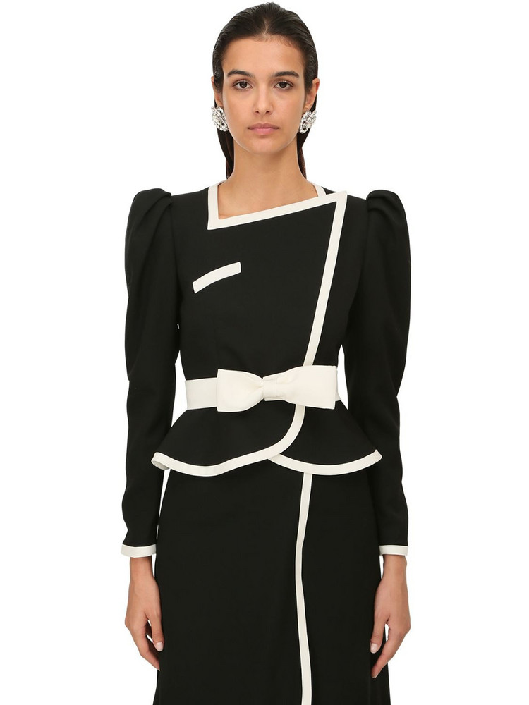 ALESSANDRA RICH Light Cool Wool Two Tone Jacket in black / white