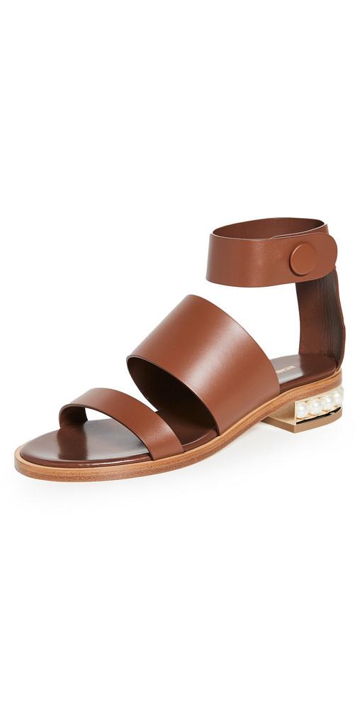 Nicholas Kirkwood Casati Triple Strap 25mm Sandals in tan