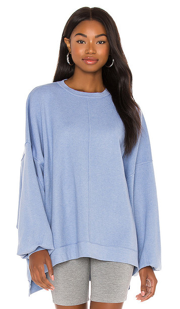 Free People Uptown Pullover in Baby Blue