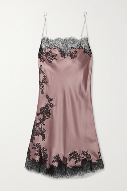 Carine Gilson - Chantilly Lace-trimmed Silk-satin Chemise - Antique rose