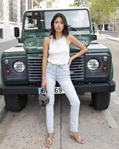 jeans,denim,light blue jeans,sandals,top,tank top,white top