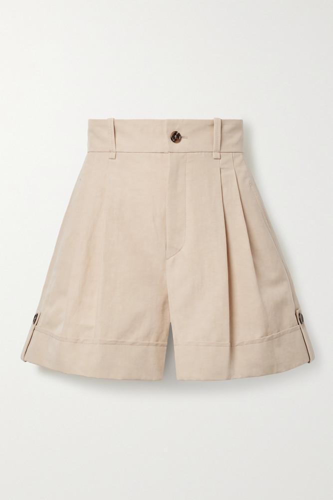 CHLOÉ CHLOÉ - Linen And Cotton-blend Canvas Shorts - Neutrals