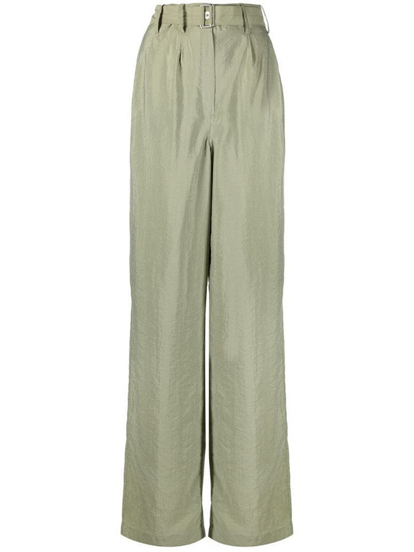 Lemaire belted loose trousers in green