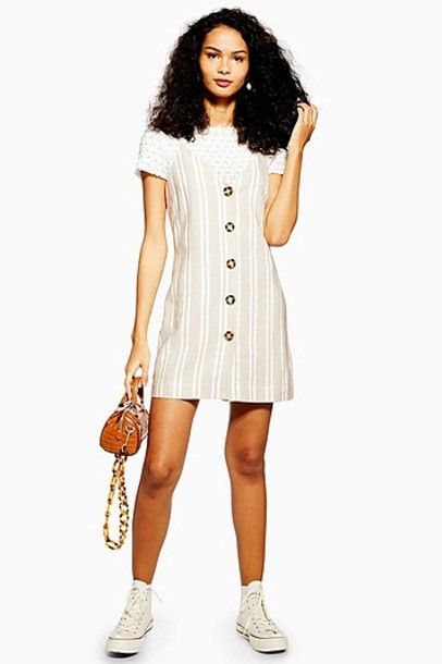 Topshop Stripe Button Mini Slip Dress - Stone