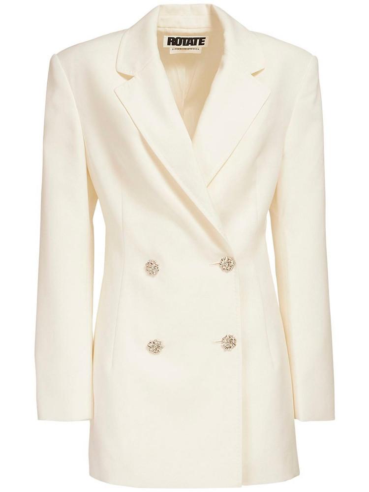 ROTATE Fonda Wool Blend Blazer Dress in white