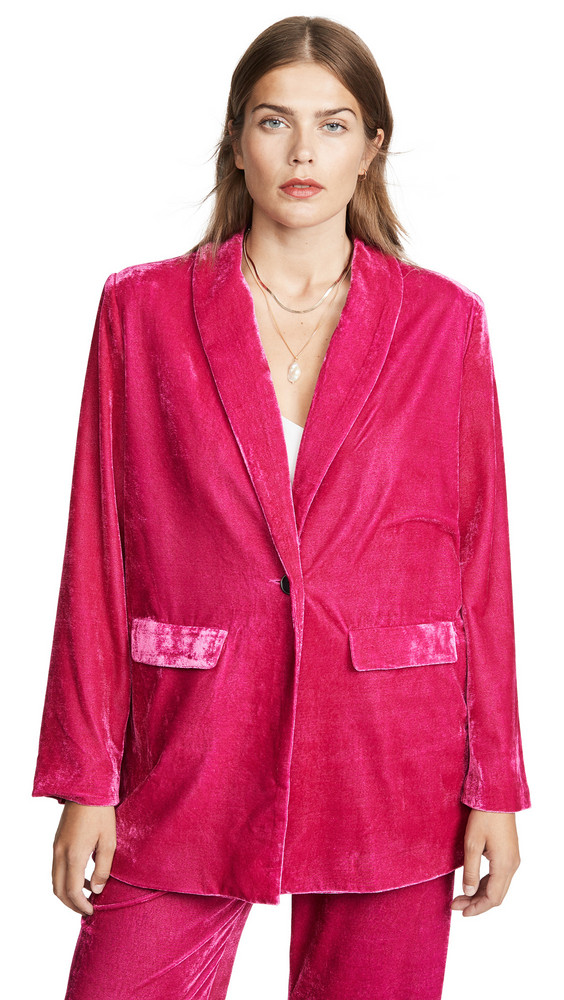 endless rose Velvet Single Breasted Blazer in pink