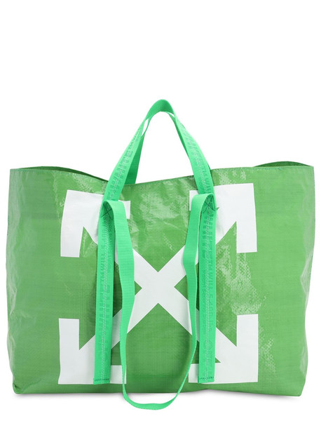 OFF-WHITE Logo Printed Pvc Tote Bag in green
