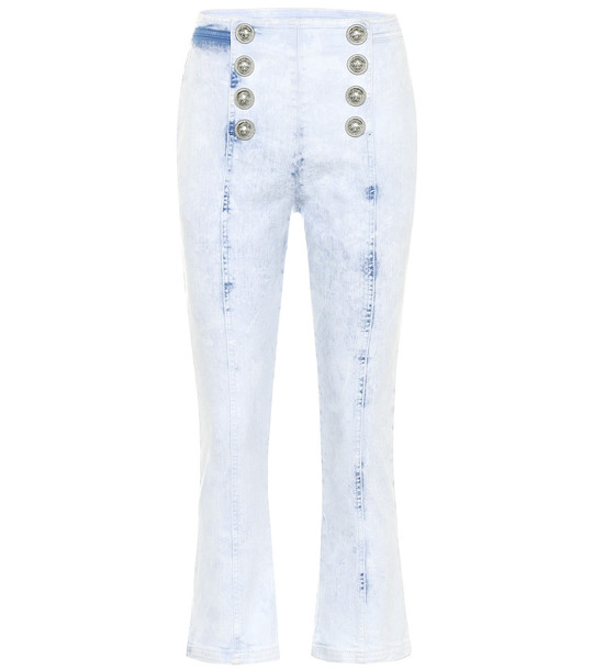 Balmain Embellished high-rise jeans in blue