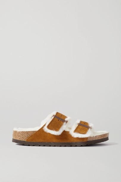 Birkenstock - Arizona Shearling-lined Suede Sandals - Tan