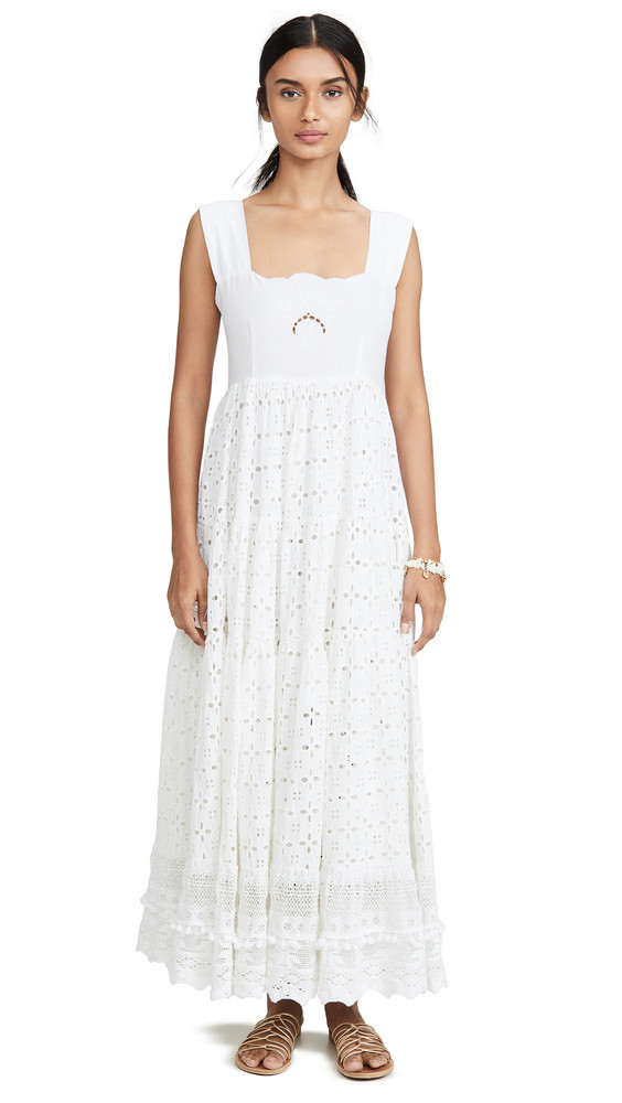 Place Nationale Le Crescent Broderie Anglaise Sun Dress in white