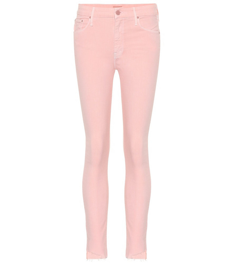 Mother The Looker cropped skinny jeans in pink