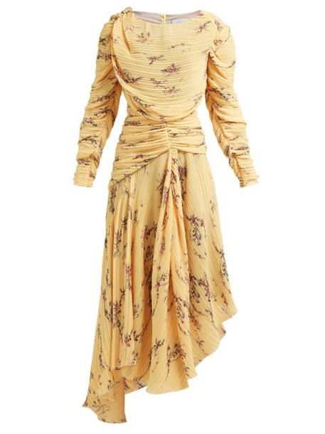 Preen By Thornton Bregazzi - Sandra Floral Print Pleated Dress - Womens - Yellow Multi