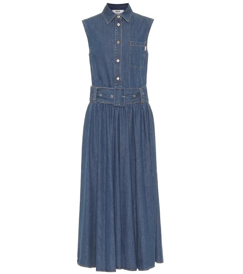 MSGM Denim midi dress in blue