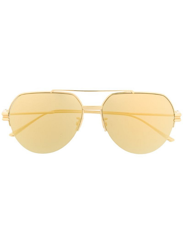 Bottega Veneta Eyewear half-rim aviator-frame sunglasses in gold