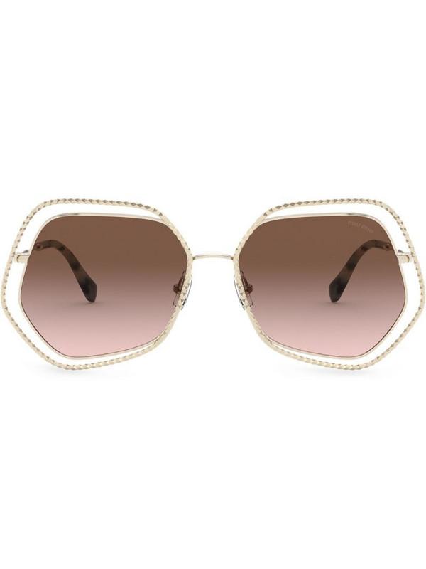 Miu Miu Eyewear La Mondaine oversized-frame sunglasses in gold