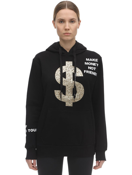 MAKE MONEY NOT FRIENDS Glittered Cotton Sweatshirt Hoodie in black