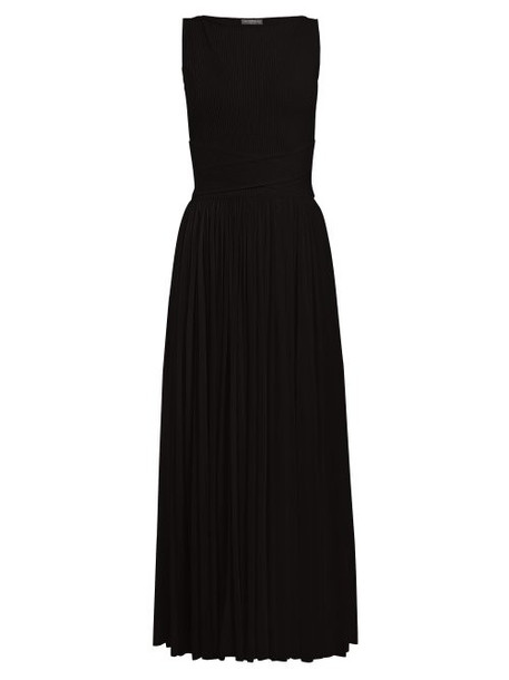 Alexander Mcqueen - Ribbed Bodice Pleated Skirt Gown - Womens - Black