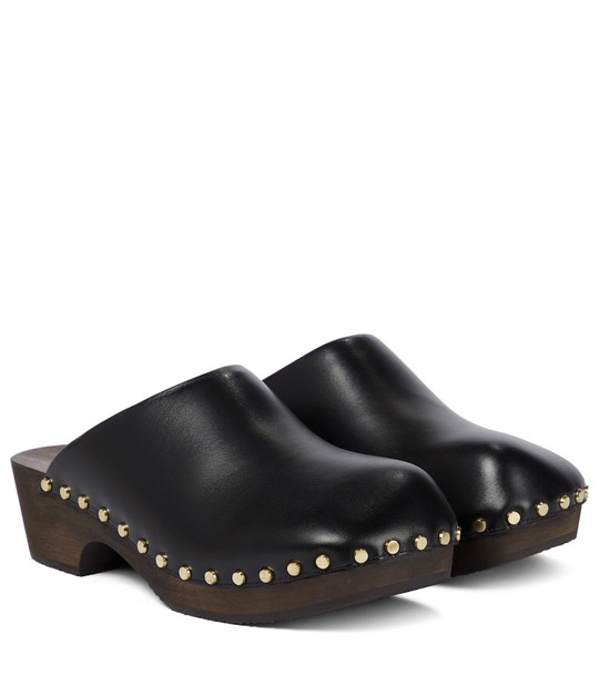 KHAITE Lucca leather clogs in black