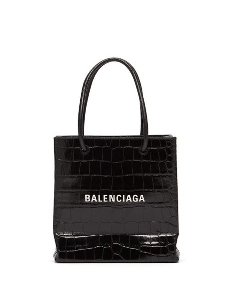Balenciaga - Shopping Xxs Croc Effect Leather Cross Body Bag - Womens - Black