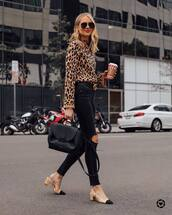 jeans,black ripped jeans,slingbacks,black skinny jeans,leopard print,blouse,gucci belt,black belt,black bag