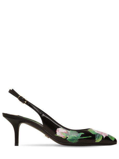 DOLCE & GABBANA 70mm Printed Leather Slingback Pumps in black